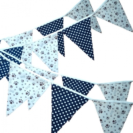 Fabric Bunting -  Beige Paw Print - Navy Spots - 12 Flags - 10 ft length ( 3 metres)