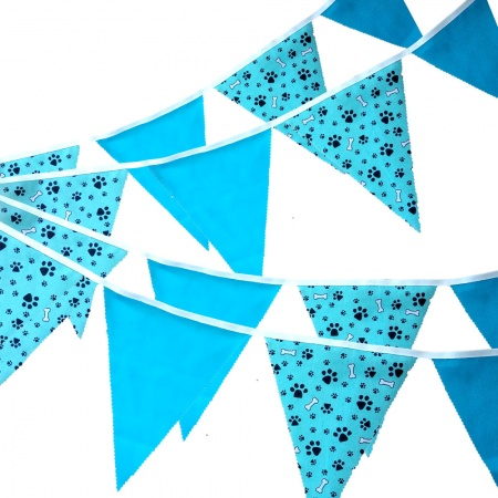 Fabric Bunting - Paw Print - Turquoise Paw & Bone - 12 Flags - 10 ft length ( 3 metres)
