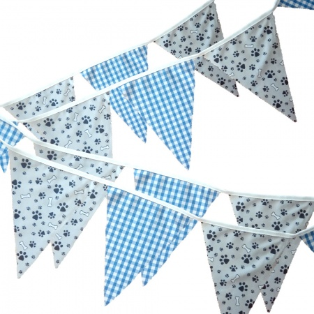 Fabric Bunting -  Grey Paw Print - Gingham Blue - 12 Flags - 10 ft length ( 3 metres)