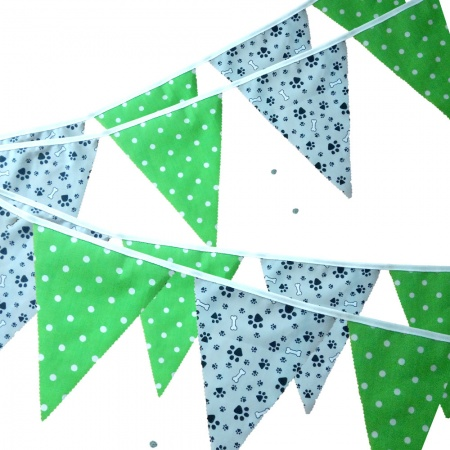 Fabric Bunting -  Grey Paw Print - Lime Spots - 12 Flags - 10 ft length ( 3 metres)