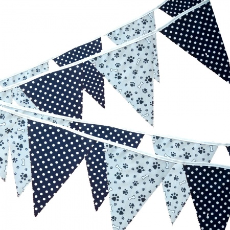 Fabric Bunting -  Grey Paw Print - Navy Spots - 12 Flags - 10 ft length ( 3 metres)