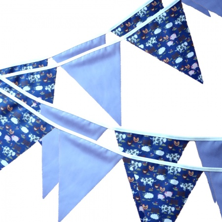 Bunting - Purple Farmyard & Lilac - 12 Flags - 10 ft length ( 3 metres)