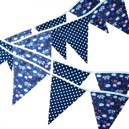 Bunting - Purple Farmyard & Navy Spots - 12 Flags - 10 ft length ( 3 metres)
