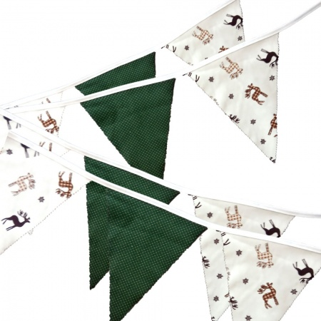Bunting - Stag & Green - 12 Flags - 10 ft length ( 3 metres)