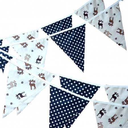 Bunting - Stag & Navy White Spots - 12 Flags - 10 ft length ( 3 metres)