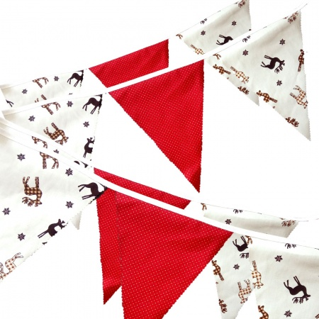 Bunting - Stag & Red - 12 Flags - 10 ft length ( 3 metres)