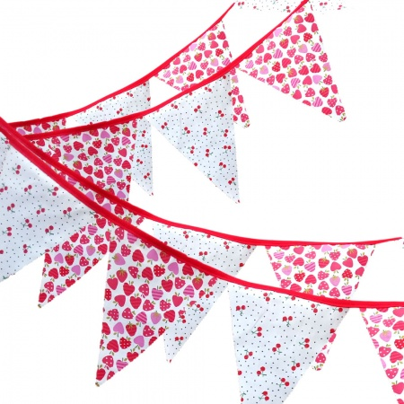 Bunting - Strawberry & Cherries - 12 Flags - 10 ft length ( 3 metres)