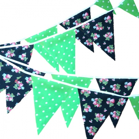 Bunting - Strawberry & Lime White Polka Dots - 12 Flags - 10 ft length ( 3 metres)