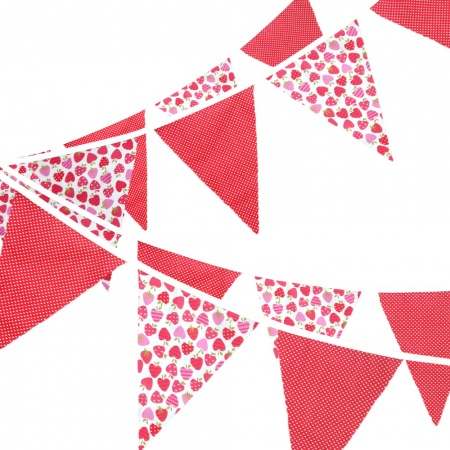 Bunting - Strawberry & Red Pin Dot - 12 Flags - 10 ft length ( 3 metres)
