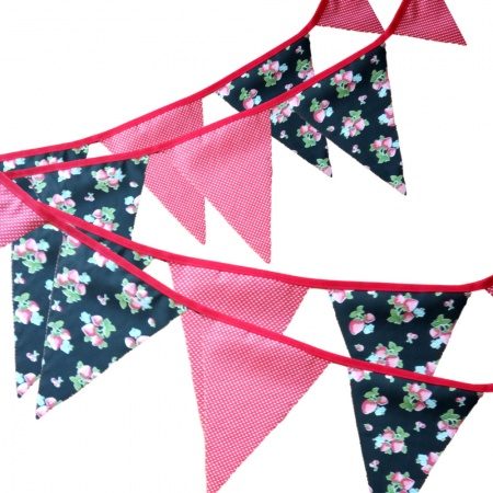 Bunting - Strawberry & Small Red White Polka Dots - 12 Flags - 10 ft length ( 3 metres)