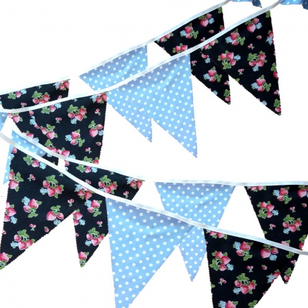 Bunting - Strawberry & Sky Blue With White Dots - 12 Flags - 10 ft length ( 3 metres)