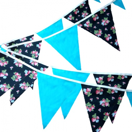 Bunting - Strawberry & Turquoise - 12 Flags - 10 ft length ( 3 metres)
