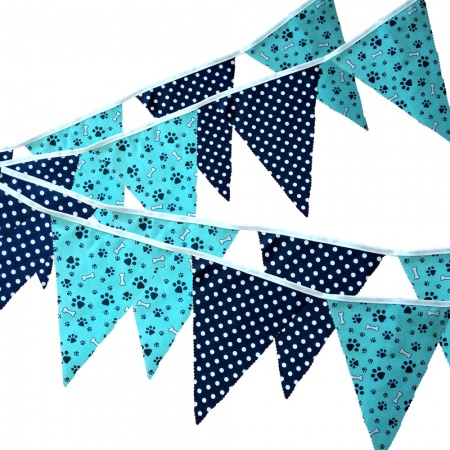 Fabric Bunting -  Turquoise Paw Print - Navy Spots - 12 Flags - 10 ft length ( 3 metres)
