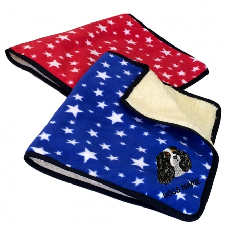 Cavalier King Charles Spaniel Personalised Luxury Fleece Dog Blankets Bright Stars Design
