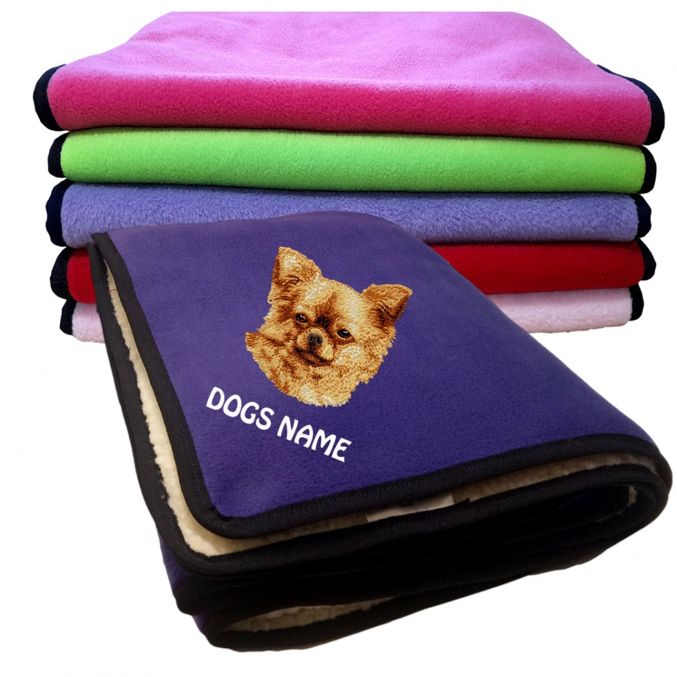 Chihuahua Personalised Luxury Fleece Dog Blankets Plain Colours