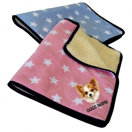 Chihuahua Personalised Luxury Fleece Dog Blankets Pale Stars Design