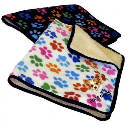 Chihuahua Personalised Luxury Fleece Dog Blankets Paw Print Design
