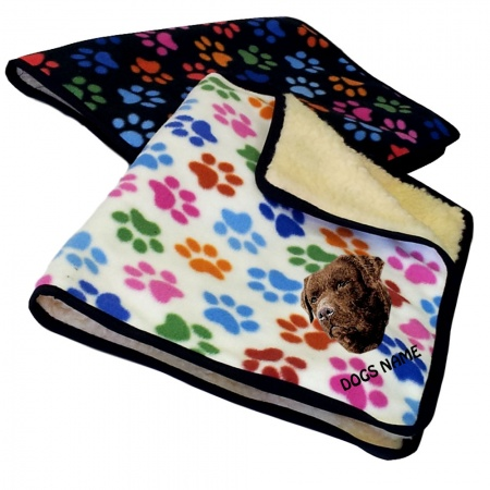 Chocolate Labrador Retriever Personalised Luxury Fleece Dog Blankets Paw Print Design