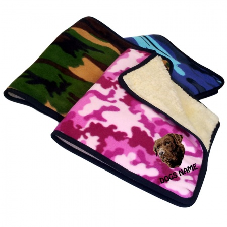 Chocolate Labrador Retriever Personalised Luxury Fleece Dog Blankets Camouflage Design