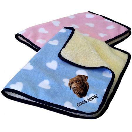Chocolate Labrador Retriever Personalised Luxury Fleece Dog Blankets Heart Design
