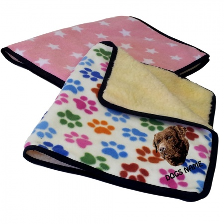 Labrador Retriever (Chocolate) Personalised Luxury Fleece Dog Blankets Designer Prints
