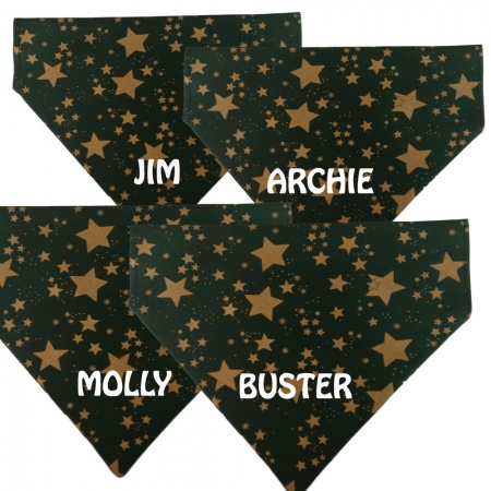 Personalised Dog Bandana - Christmas Green With Gold Stars
