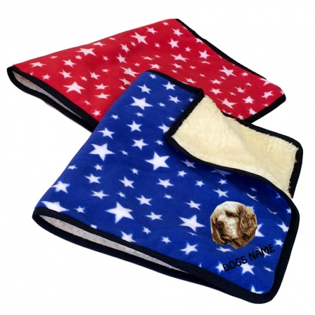 Clumber Spaniel Personalised Luxury Fleece Dog Blankets Bright Stars Design