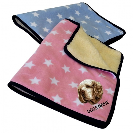 Clumber Spaniel Personalised Luxury Fleece Dog Blankets Pale Stars Design