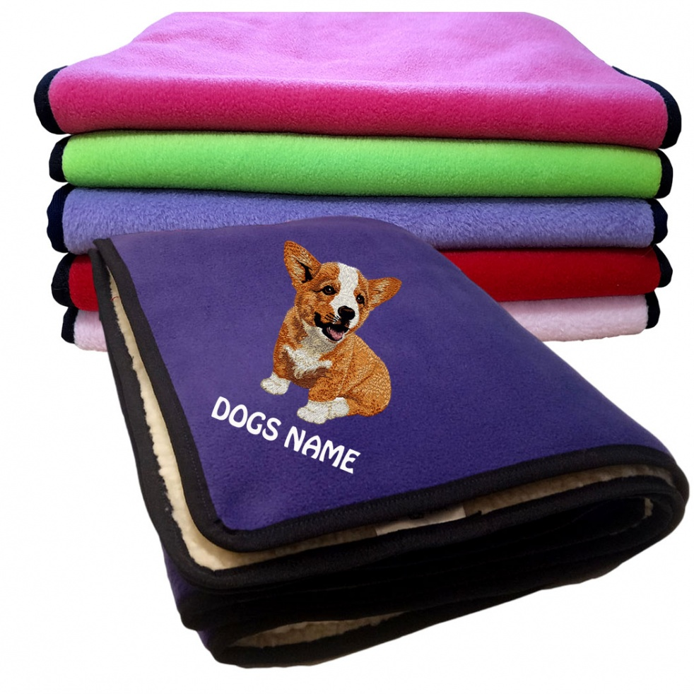 Corgi Personalised Luxury Fleece Dog Blankets Plain Colours
