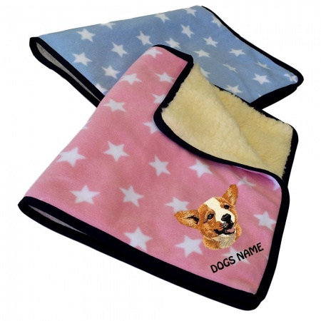 Corgi Personalised Luxury Fleece Dog Blankets Pale Stars Design