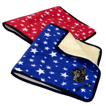 Curly Coated Retriever Personalised Luxury Fleece Dog Blankets Bright Stars Design
