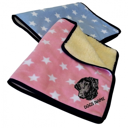 Curly Coated Retriever Personalised Luxury Fleece Dog Blankets Pale Stars Design