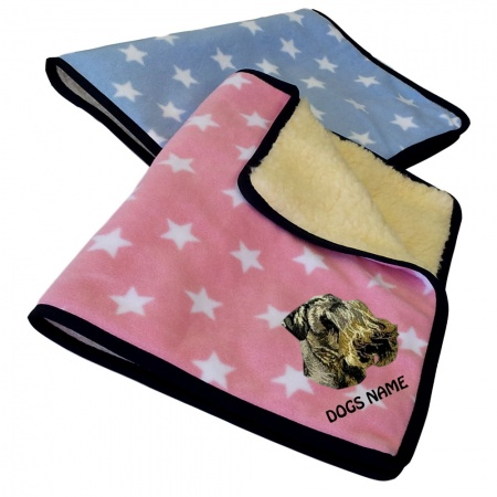 Czech Terrier Personalised Luxury Fleece Dog Blankets Pale Stars Design