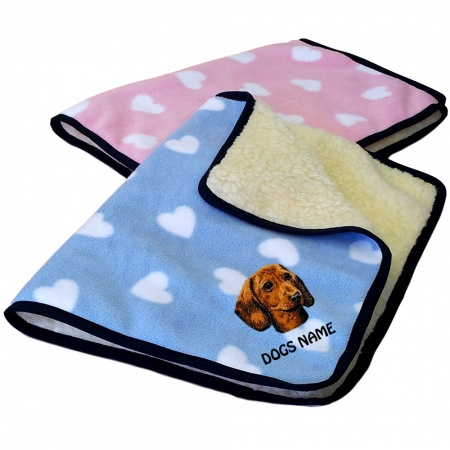 Dachshund Personalised Luxury Fleece Dog Blankets Heart Design
