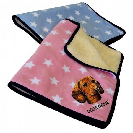 Dachshund Personalised Luxury Fleece Dog Blankets Pale Stars Design