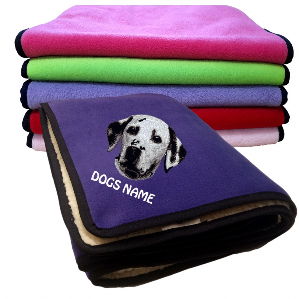 Dalmatian Personalised Luxury Fleece Dog Blankets Plain Colours