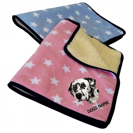 Dalmatian Personalised Luxury Fleece Dog Blankets Pale Stars Design