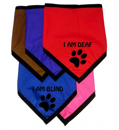 Personalised Dog Bandanas Deaf Blind Nervous - Tie On