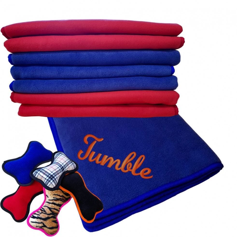 Bundle Offer - Personalised Fleece Dog Blanket - Set of 4 Plush Dog Toys