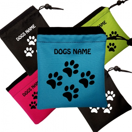 Dog Training Treat Bag - Drawstring - Personalised With Your Dogs Name - Tiny Paw Design