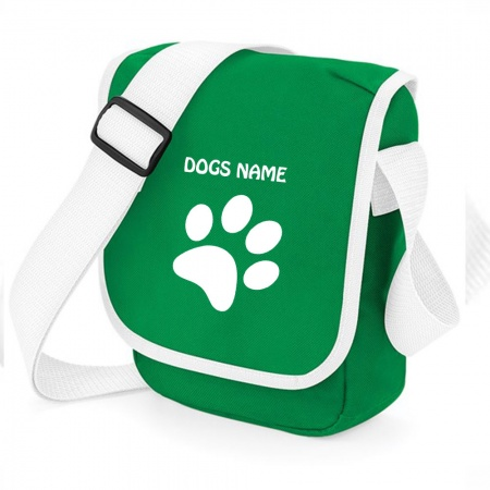 Personalised Pawprint Bag Base Mini Reporter Bag - Emerald Green