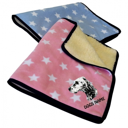 English Setter Personalised Luxury Fleece Dog Blankets Pale Stars Design