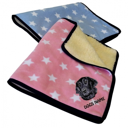 Flat Coated Retriever Personalised Luxury Fleece Dog Blankets Pale Stars Design