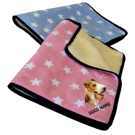 Fox Terrier Personalised Luxury Fleece Dog Blankets Pale Stars Design