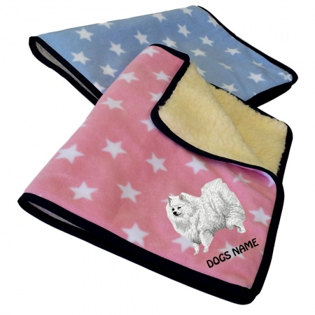 German Spitz Personalised Luxury Fleece Dog Blankets Pale Stars Design