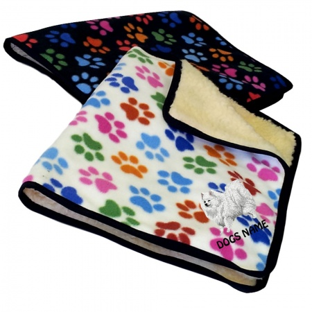 German Spitz Personalised Luxury Fleece Dog Blankets Paw Print Design