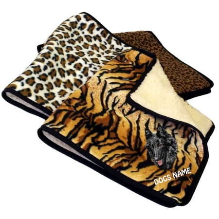Groenendael Personalised Luxury Fleece Dog Blankets Animal Print Design