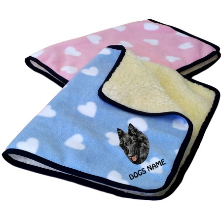 Groenendael Personalised Luxury Fleece Dog Blankets Heart Design