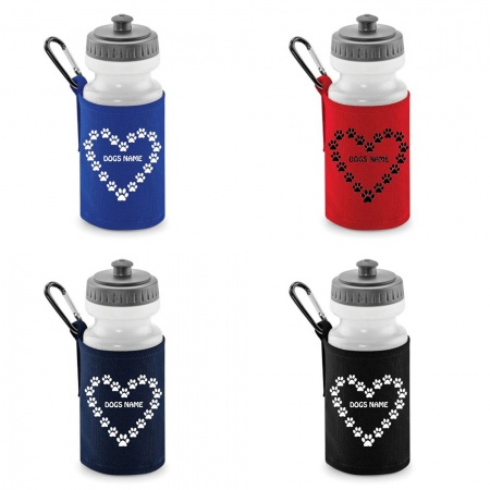 Personalised Dog Water Bottle & Holder Heart Paw Prints