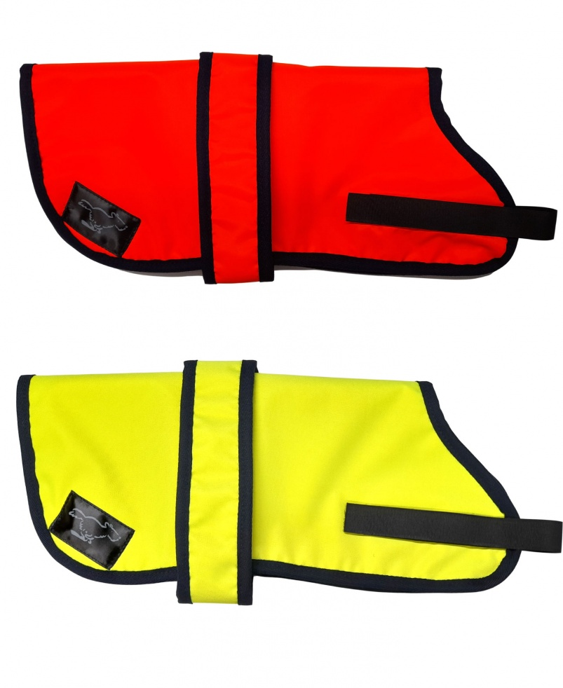 Personalised Waterproof Dog Coats | High Visibility Orange Or Yellow